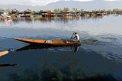 Cartoon - Boat Among The Weeds - Man Rowing His Boat In The Dal Lake In Srinagar Art Print by Ashish Agarwal