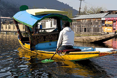 Cartoon - Kashmiri Man Driving This Shikara In The Still Waters Of The Dal Lake In Srinagar Art Print by Ashish Agarwal