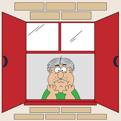 Cartoon Bored Old Man At Window Art Print by Toots Hallam
