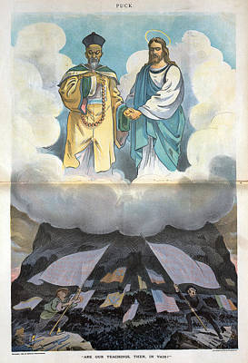 Boxer Rebellion Painting - Cartoon Boxer Rebellion, 1900 by Granger