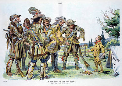 Cartoon Boy Scouts, 1912 Art Print by Granger