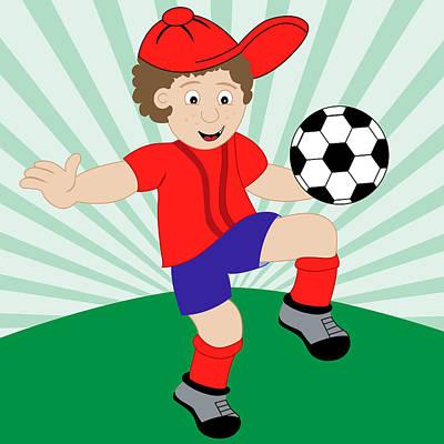 Cartoon Child Playing Football Art Print By Toots Hallam