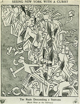 Staircase Painting - Cartoon Cubism, 1913 by Granger