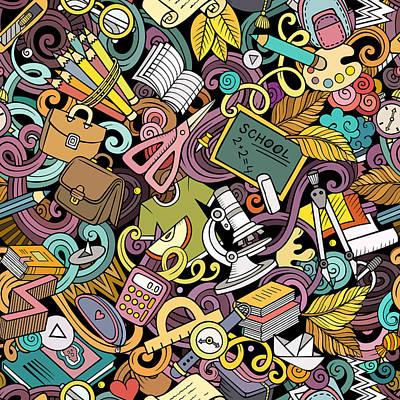 Digital Art - Cartoon Cute Doodles Hand Drawn School by Kostenkodesign