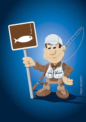 Cartoon Fisherman Fishing Sign Art Print