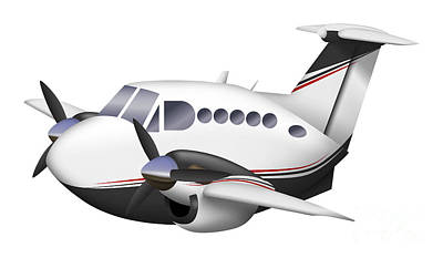 Beechcraft Digital Art - Cartoon Illustration Of A Beechcraft by Inkworm