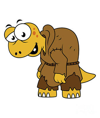 Hunchback Digital Art - Cartoon Illustration Of A Dinosaur by Stocktrek Images