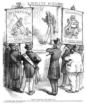 Immigration Painting - Cartoon Immigration, 1877 by Granger