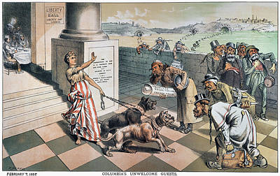 Dog Caricature Painting - Cartoon Immigration, 1885 by Granger