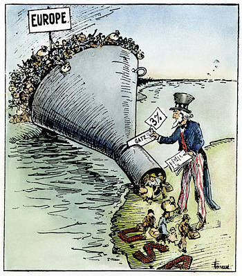 Immigration Painting - Cartoon Immigration, 1921 by Granger