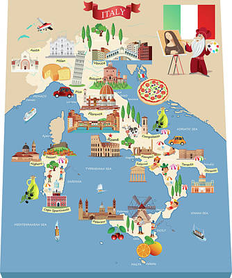 Digital Art - Cartoon Map Of Italy by Drmakkoy