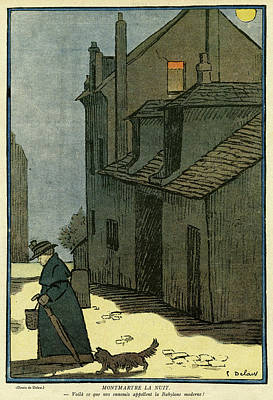 Plump Women Wall Art - Drawing - Cartoon, Montmartre By Night -- A Woman by Mary Evans Picture Library