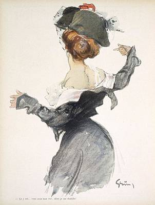 Great Drawing - Cartoon Of A Woman Performing A Hurried by Jules Alexandre Gruen or Grun