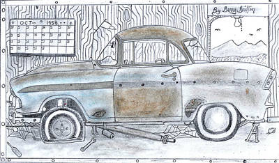 Gerald Griffin Pastel - Cartoon Rustic Car  by Gerald Griffin