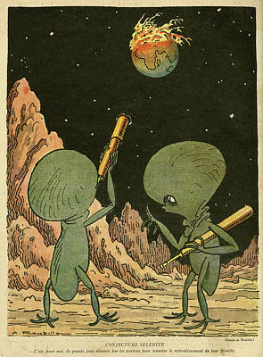 First Star Drawing - Cartoon, Showing Inhabitants by Mary Evans Picture Library