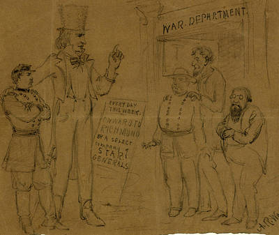 Onward Drawing - Cartoon Showing Uncle Sam And General Mcclellan Standing by Quint Lox