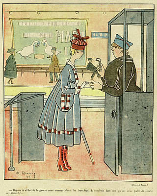 Plump Women Wall Art - Drawing - Cartoon, Women On The Paris Metro by Mary Evans Picture Library