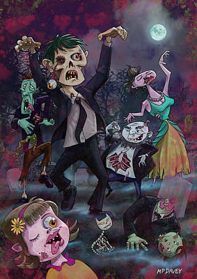 M P Davey Digital Art - Cartoon Zombie Party by Martin Davey