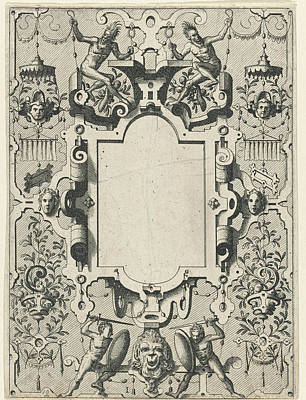 Grotesque Drawing - Cartouche In A Frame Of Scroll Work With Grotesques by Johannes Or Lucas Van Doetechum And Hans Vredeman De Vries And Hieronymus Cock