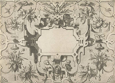 Grotesque Drawing - Cartouche Surrounded By Grotesques, Johannes Or Lucas Van by Johannes Or Lucas Van Doetechum And Hans Vredeman De Vries And Hieronymus Cock
