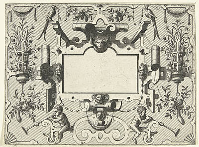 Grotesque Drawing - Cartouche Surrounded By Grotesques, With Left And Right by Johannes Or Lucas Van Doetechum And Hans Vredeman De Vries And Hieronymus Cock