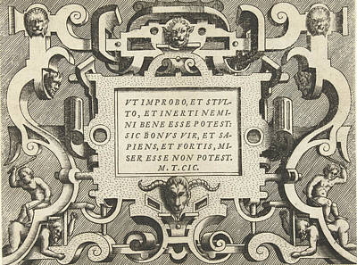 Cartouche With A Quote From Cicero, Frans Huys Print by Frans Huys And Hans Vredeman De Vries And Gerard De Jode