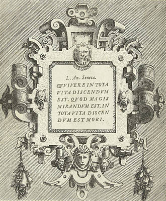 Cartouche With A Quote From Seneca, Frans Huys Print by Frans Huys And Hans Vredeman De Vries And Gerard De Jode