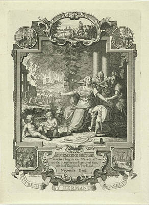 Jewish Art Drawing - Cartouche With Allegory Of Jewish History by Quint Lox