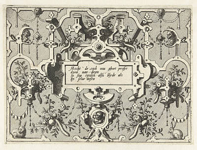 Grotesque Drawing - Cartouche With Grotesques, Bottom Center Is A Child by Johannes Or Lucas Van Doetechum And Hans Vredeman De Vries And Hieronymus Cock
