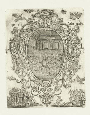 1636 Drawing - Cartouche With Heads, Cherubs And Masks, Hans Janssen by Hans Janssen And Anonymous