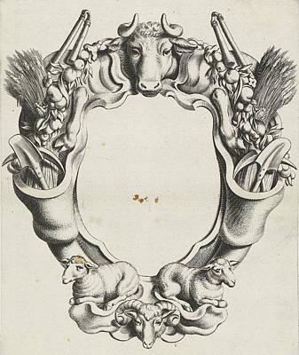 Ram Sheep Drawing - Cartouche With Lobe Ornament With Animals by Michiel Mosijn And Gerbrand Van Den Eeckhout And Clement De Jonghe