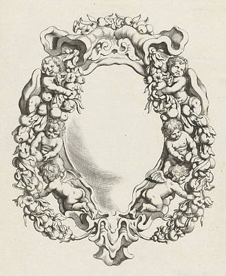 Flower Child Drawing - Cartouche With Lobe Ornament With Four Children And Two by Michiel Mosijn And Gerbrand Van Den Eeckhout And Clement De Jonghe