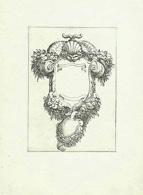 Cornucopia Drawing - Cartouche With Mask And Cornucopias, Agostino Mitelli by Agostino Mitelli And Anonymous