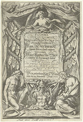 Cartouche With Title And The Allegorical Figures Father Art Print by Willem Jacobsz. Delff And Nicolaes De Clerck