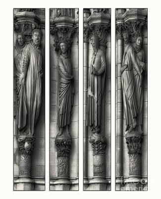 World Forgotten Rights Managed Images - Carved Columns bw Quad Panel  Royalty-Free Image by Jerry Fornarotto