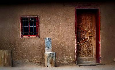 Photograph - Carved Door Adobe by Nadalyn Larsen