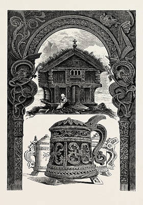 Lintels Drawing - Carved Lintel, Stabbur And Tankards by English School