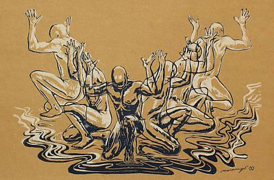 Carved Men Art Print by Maria Arango Diener