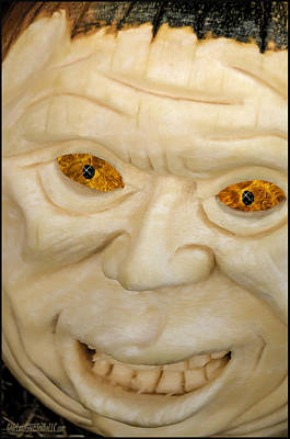 Fantasty Photograph - Carved Pumpkin Face by LeeAnn McLaneGoetz McLaneGoetzStudioLLCcom