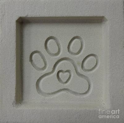 Wall Art - Photograph - Carved Sand Paw Print by Megan Cohen