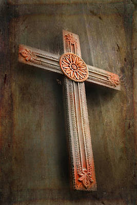 Photograph - Carved Wooden Cross by David and Carol Kelly