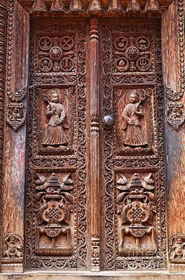 Religious Art Photograph - Carved Wooden Door At Bhaktapur In Nepal by Robert Preston