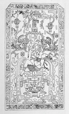 Maya Drawing - Carving At Palenque, Mexico,  Which by Mary Evans Picture Library