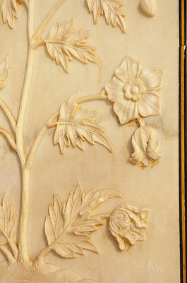Carving Detail, Taj Mahal, Agra, Uttar Art Print by Inger Hogstrom