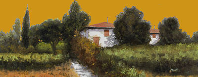 Wine Oil Painting - Casa Al Tramonto by Guido Borelli