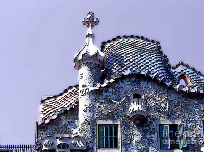 Anton Digital Art - Casa Batllo - Barcelona by Linda  Parker