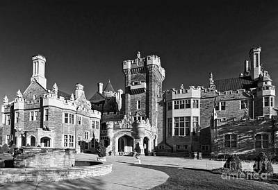Photograph - Casa Loma In Toronto In Black And White by Les Palenik