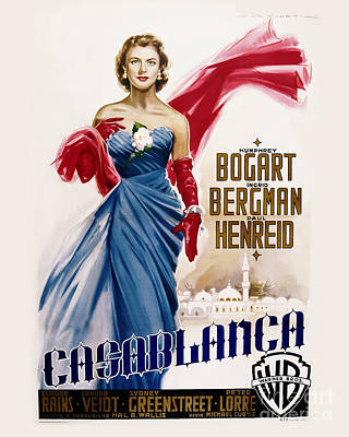 Casablanca Movie Poster - Bogart And Bergman Art Print by MMG Archive Prints