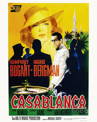 Bogart Photograph - Casablanca Movie Poster Bogart Bergman by MMG Archive Prints