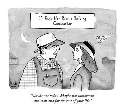 Scene Drawing - Casablanca Parody.  If Rick Was A Building by Bob Eckstein